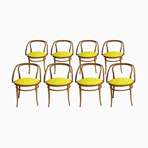 Mid-Century Birchwood 209 Yellow Upholstery Dining Chairs from Thonet, Germany, 1900s, Set of 8