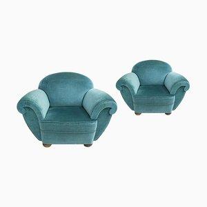 Blue Velvet French Armchairs, France, 1920s, Set of 2
