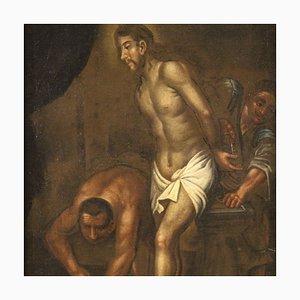 Antico dipinto religioso raffigurante Cristo alla colonna, XVIII secolo