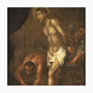 Antique Italian Religious Painting Christ at the Column, 18th Century