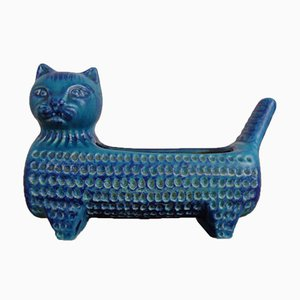 Blue Italian Ceramic Cat Bowl, 1960s