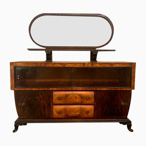 Art Deco Rosewood Dresser and Mirror, 1920s, Set of 2