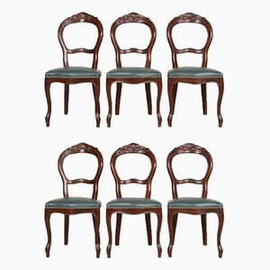 Louis Philippe Style Walnut and Green Vinyl Dining Chairs, 1950s, Set of 6