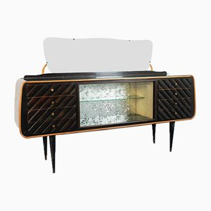 Vintage Dark Wood and Glass Mobile Sideboard, 1950s
