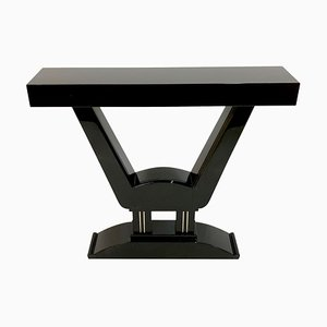 Vintage Art Deco French Black Lacquered Console Table