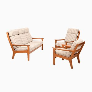 Solid Teak Living Room Set by Jens Juul-Kristensen for JK Denmark, 1970s, Set of 3