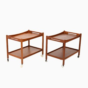 Model AT-45 Teak Trolleys by Hans J. Wegner for Andreas Tuck, 1960s, Set of 2