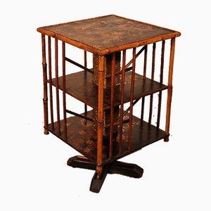 English Revolving Bookcase in Bamboo, Early 20th-Century