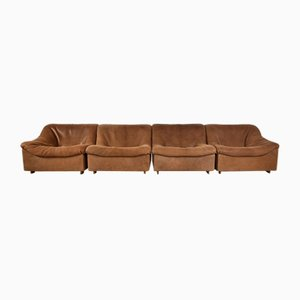 Vintage Cognac Neck Leather DS46 Modular 4-Seat Sofa Set from de Sede, Set of 4
