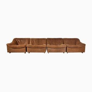 Vintage Cognac Neck Leather DS46 Modular 4-Seat Sofa Set from de Sede, Set of 4