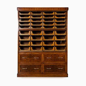 English Burr Walnut 36-Drawer Haberdashery, 1930s