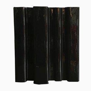 Italienische Schwarze Keramikvase von Angelo Mangiarotti für Superego, 2000er