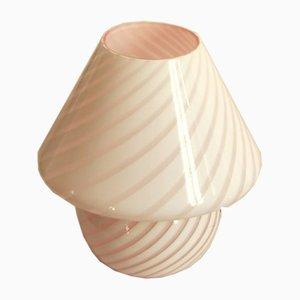 Lámpara en forma de hongo de Murano en espiral Mella vintage en rosa, Italia, años 70