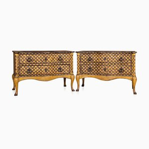 Italian Hand-Painted Wooden Commodes, 1800s, Set of 2