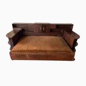 Sofá cama Art Déco de madera de palmera, años 30