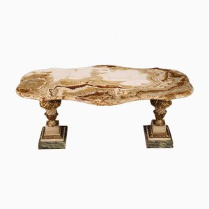 Italian Coffee Table In Lacquered and Gilded Wood With Onyx Top