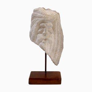 Sculpture Buste Sculpté en Pierre, 1950s