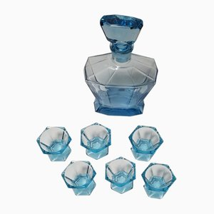 Art Deco Shot Glasses With Decanter, Set of 7