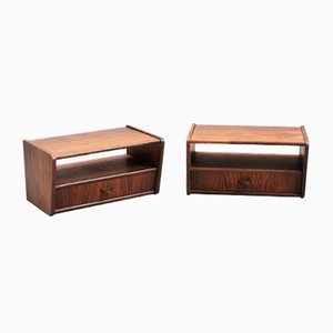 Small Mid-Century Modern Suspended Rosewood Nightstands, Set of 2