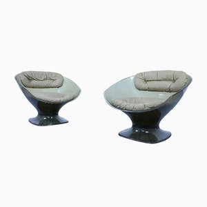 Vintage Plexiglas and Alcantara Lounge Chairs, Set of 2