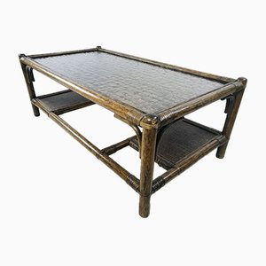 Vintage Dark Bamboo and Rattan Coffee Table