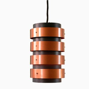 Danish Black Lacquered Metal and Copper Pendant Lamp, 1960s