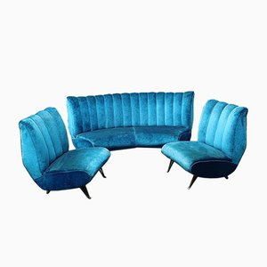 Living Room Set from ISA Bergamo, 1950s, Set of 3