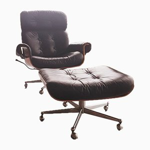Mid-Century Lounge Chair & Ottoman by Martin Stoll for Giroflex, Set of 2