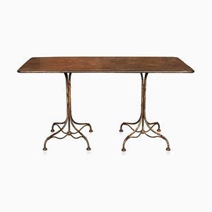 French Country House Metal Dining Table, 1920s