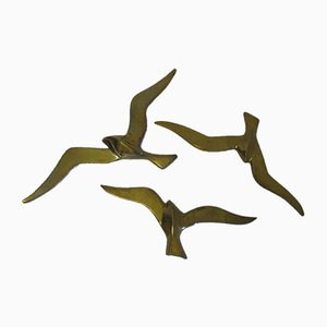 Vintage Brass Bird Wall Decorations, Set of 3