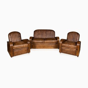 Art Deco Leather Tub Chairs & Sofa, 1920s, Set of 3