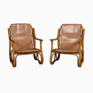 Bamboo Frame & Leather Armchairs, 1950s, Set of 2