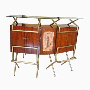 Rosewood Mobile Bar Sideboard, 1950s