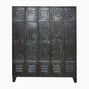 Mid-Century Industrial 5-Door Locker Cabinet