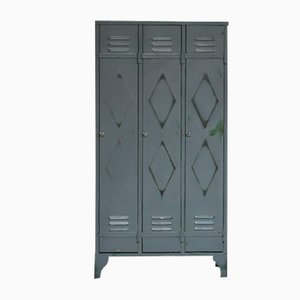 Mid-Century Industrial Double Diamond 3-Door Locker Cabinet
