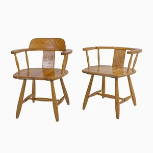 Vintage Wooden Armchairs by Asko, Set of 2