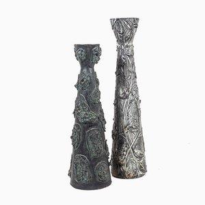 Brutalistische Keramikvasen mit Kupfer Patina, 2er Set