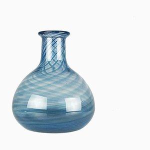 Vaso in vetro di Murano blu e trasparente di Barovier & Toso, anni '60