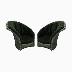 Italian Rattan Lounge Chairs, 1960s, Set of 2