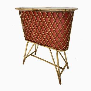 Mueble bar Tiki vintage de ratán, Francia, años 50