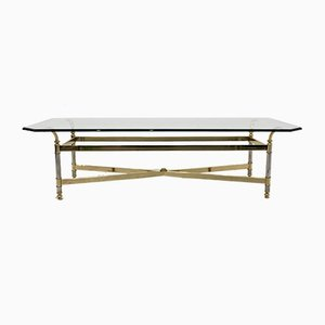 Brass, Chrome & Glass Center table, France 1970s