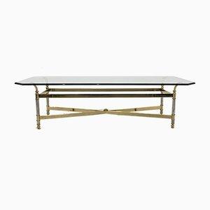 Brass, Chrome & Glass Center table, France 1970s
