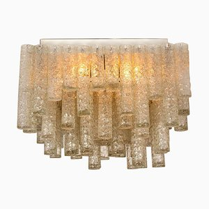 Huge Modern Clean Square Blown Light Fixture from Doria, 1960s