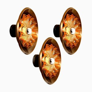Dark Brass and Glass Wall Sconce from Raak, The Netherlands, 1970s
