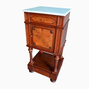 Antique Walnut Bedside Table with Marble Top, 1890s