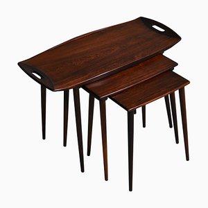 Tables Gigognes Danoises en Palissandre par I.H. Quistgaard, années 60, Set de 3