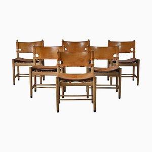 BM 3237 Spanische Esszimmerstühle aus Eiche und Leder von Børge Mogensen, 6er-Set