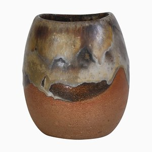 Axella Organic Stoneware Vase in Earth Colors by Aksel Larsen, Denmark, 1970s
