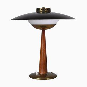 Skandinavische Tischlampe aus Messing, Opalglas und Teakholz, 1950er Jahre