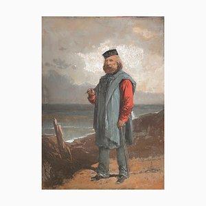 Unknown, Portrait of Giuseppe Garibaldi in Front of the Sea, Gouache, 19th Century